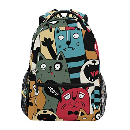 Cat Wacky Expressions Backpacks College School Book Bag Travel Hiking Camping Daypack