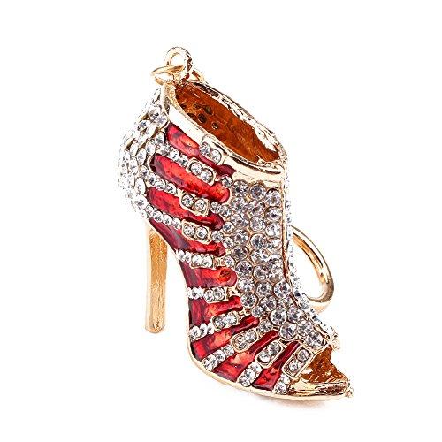 Fdit Keychain Rhinestone Crystal High Heel Shoe Lady Gift Stiletto Enamel Gold Pendent Key Purse Bag Keyring Chain