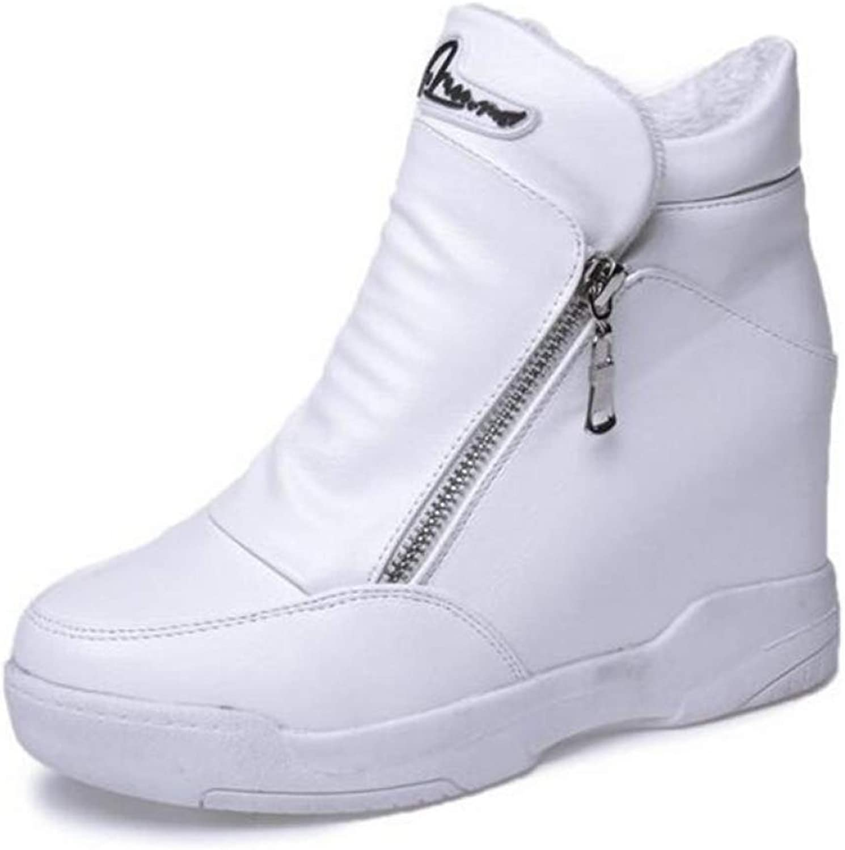JOYBI Women's Hidden Heel Wedge shoes Side Zipper Leather Waterproof Comfortable Soft Casual Walking Sneakers
