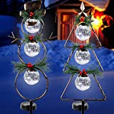 MAGGIFT Christmas Outdoor Solar Stake Lights, 42.5 Inch Solar Powered Yard Decorations, Glass Globe Cool White LED Xmas Pathway Lights, Metal Snowman & Tree Garden Stakes Lawn Ornament, Set of 2