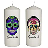 Hat Shark Remember Me Celebration Candle for Day of The Dead Set of Two Candles Blue with Green Skull and Pink Rose Skull - Dia De Los Muertos - Printed in Full Color 6 Inches Tall