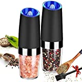 Gravity Electric Salt and Pepper Grinder Set,Automatic Salt and Pepper Mills with Blue