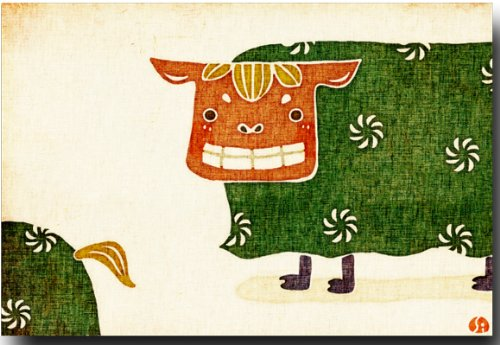 和風イラストポストカード 「獅子舞」 めでたい絵葉書 年賀状 和道楽