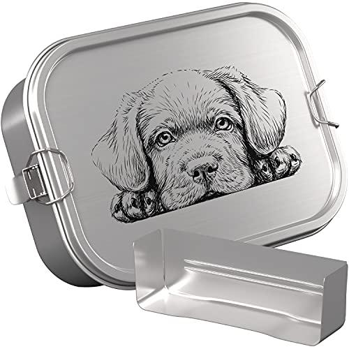 DUDE BOX Brotdose Edelstahl 1200ml   auslaufsicher & nachhaltig   Lunch Box Kinder mit Trennwand   Bento Box Butterbrotdose Brotbüchse mit Fächern (Hund)