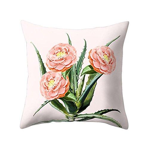 Bodhi2000 Cactus diseño de flores manta funda de almohada Funda para cojín sofá cama casa Decor, 45cm x 45cm, Type 3, talla única