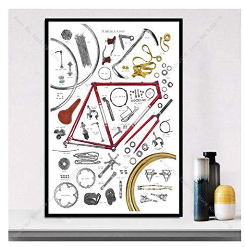 JCYMC Colección De Bicicletas, Póster De Ciclismo, Impresión En Lienzo, Imagen, Arte De Pared, Decoración De La Habitación del Hogar, Regalo Kw5Xm 40X60Cm Sin Marco