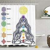 CHENHAO Shower Curtain Washable Chakra Decor Set of Ornatel Indian Chakra Icons with Meditating Figu...