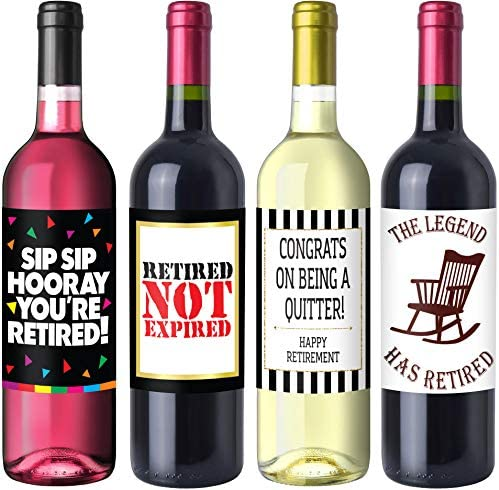 Retirement Party Wine Label Pack Retirement Party Supplies Gifts and Decorations product image