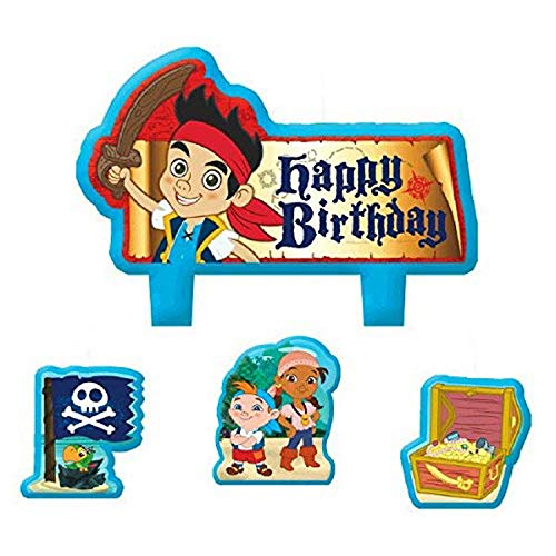 Party Time Disney Jake and the Neverland Pirates Mini Character Birthday Candle Set, Pack of 4, Multi, 1.5' x 1.75' Wax