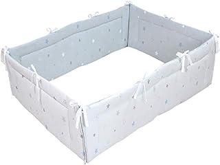 PUPPAPUPO ベビー ミニ ベッドガード 四方タイプ 【トゥインクルスター】 ブルー 全面タイプ 60×90のベッド用 ミニサイズ ごっつん防止