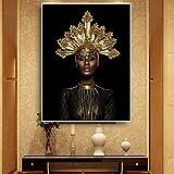 QAZEDC Dekorative Malerei Schwarz Gold Frau Kopf Porträt