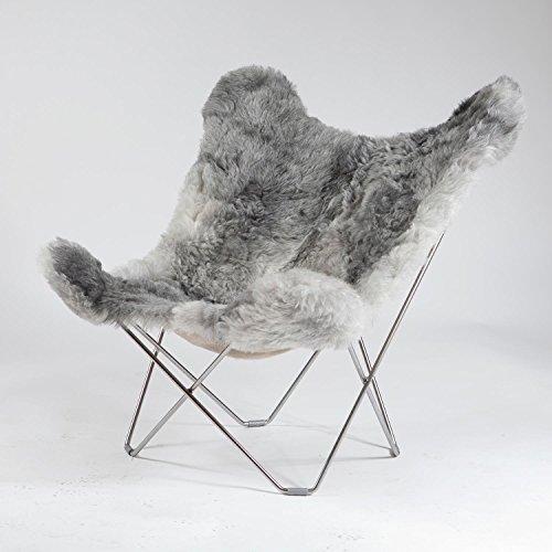 Iceland Mariposa Butterfly Chair Sessel, grau Island Lammfell Shorn Grey Gestell Chrome matt