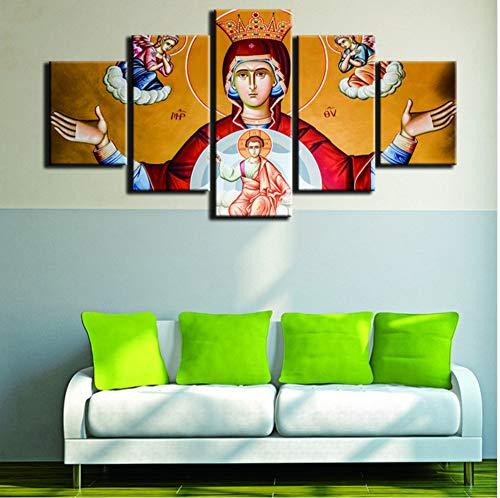 cmhai (Sin Marco) Modernopara Pinturas Lienzos Decorativos Impresiones De Arte 5 Panel Virgen María Cuadro De Pared para La Decoración del Hogar Pintura Niños Habitación