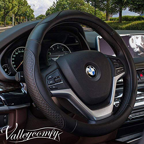 Valleycomfy Leather Steering Wheel Covers Universal 15 inch -Breathable, Anti Slip & Odor Free (04-Black)