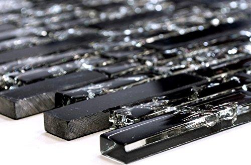 Mosaik-Netzwerk Verbund Crystal/Stein mix schwarz Glasmosaik Transluzent Transparent 3D, Mosaikstein Format: 15x23/48/73x8 mm, Bogengröße: 60 x 100 mm, 1 Handmuster ca. 6x10 cm