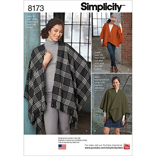 Simplicity patroon 8173 Misses 'Fleece poncho verpakkingen, wit