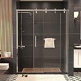 Mecor Sliding Shower Door 59' W x 74.8' H,1/4' Clear Tempered Glass Sliding Glass Door Stainless Steel for bathroom