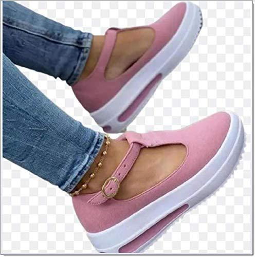 SQL Sandalias Planas de Plataforma para Mujer Hebilla de Punta Cerrada con Fondo Grueso Zapatos con borlas Baotou Zapatillas de Ocio Sandalias de Playa Retro,Rosado,35