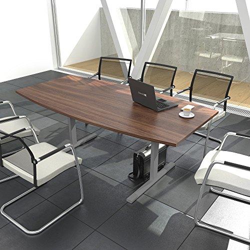 Weber Büroleben GmbH Easy Konferenztisch Bootsform 180x100 cm Nussbaum Besprechungstisch Tisch, Gestellfarbe:Silber