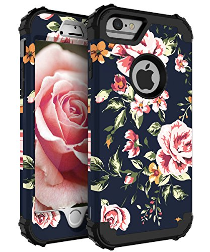 NabeCase iPhone 7 Case,iPhone 8 Case Fashion Pink Blue Flowers Protection Girls/Women Shockproof Three Layer Protective Cover,Black