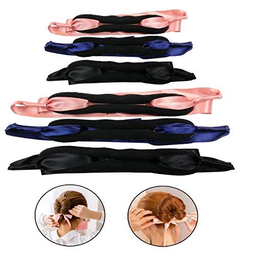 Mengger Ciambelle per chignon Accessori Capelli Set Gioielli Twist Hair Fold Wrap Snap Ragazza Donna Bambina DIY Clip Hairstyle Strumento 6 pezzi(Nero Rosa Blu)