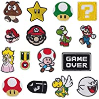 Parches de planchado para videojuegos de Super Mario Bros, parches bordados, parches para coser en ropa, chaquetas, mochilas, vaqueros, 16 unidades