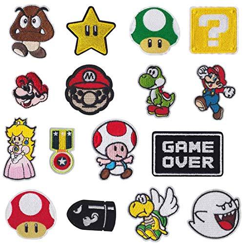 Meetlight - Parches para planchar y coser de los personajes de Super Mario Bros - Kit de parches bordados con diseños de videojuegos para ropa, chaquetas, mochilas y vaqueros, 16 unidades