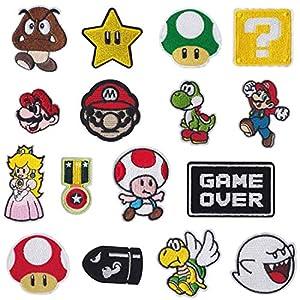 Parches de planchado para videojuegos de Super Mario Bros, parches bordados, parches para coser en ropa, chaquetas…