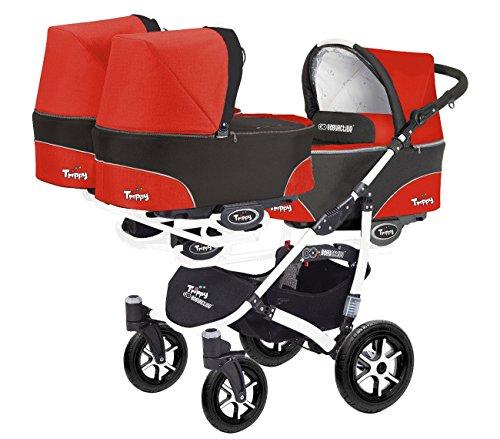 Trippy Drillingswagen Geschwisterwagen Kombi Kinderwagen 2in1 Baby Wanne und Sportwagen weiß