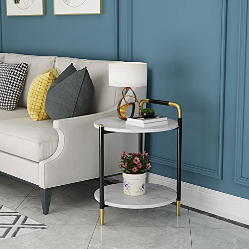 HLSUSAN Unique Stylish High Gloss Stainless Steel Small Side Table or Coffee Table Perfect For your Living Room and Bedroom,A