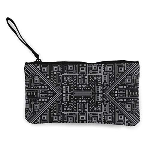 Unisex Geldbörse, Münztüten, böser Roboter Leiterplatte (schwarz und grau) Damen Canvas Münzbörse Mini Geldbörse Geldbörse Kartenhalter Handy Brieftasche Aufbewahrungstasche Stifteetui