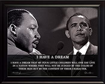 WeSellPhotos Martin Luther King Jr with US President Barack Obama Photo Picture Poster Framed Quote I Have a Dream Famous Inspirational Motivational Quotes  8x10 Framed