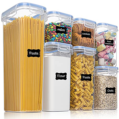 Vtopmart Airtight Food Storage Containers, 7 Pcs BPA Free Plastic Cereal Storage Containers, Stackable Dry Food Storage Containers for Kitchen Pantry Organisation with 24 Labels