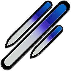 Mont Bleu Conjunto de 3 limas de uñas de cristal de color en estuche de terciopelo negro, vidrio templado checo auténtico, Garantía de por vida | Fabricado a mano en la República Checa