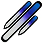 Mont Bleu Premium Set of 3 Crystal Nail Files in Velvet Pouch, Rainbow Colors