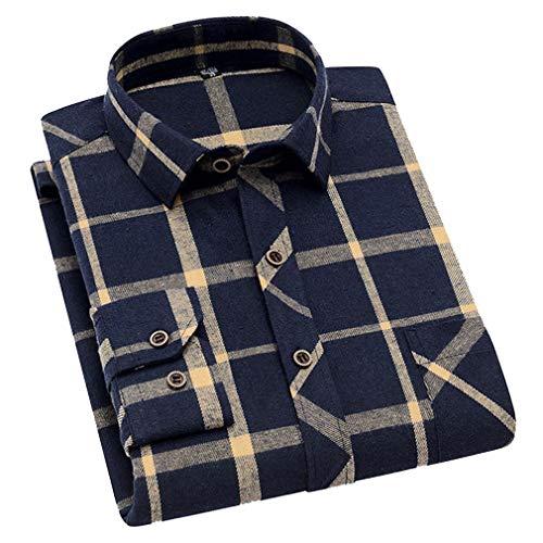 hibote Uomo Lungo Manica Cotone Camicia Plaid Flanella Camicia Uomo Casuale Swetshirt Tops Camicetta/Regolare in Forma / 5 Colori / 5 Taglie