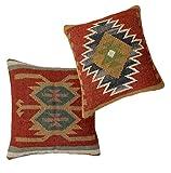 iinfinize – 2 fundas de cojín de lana de yute multicolor de Kilim tejida a mano, estilo vintage hippie bohemio de 45,7 cm para sofá o cama, almohada rústica de suelo, cojín multidecoración