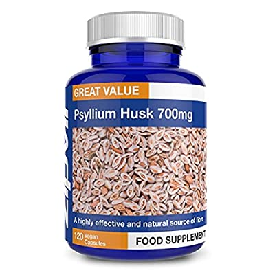 Psyllium Husk Capsules. 700mg Psyllium Husk Powder Per Capsule, 120 Vegan Capsules. Natural Fibre Supplement