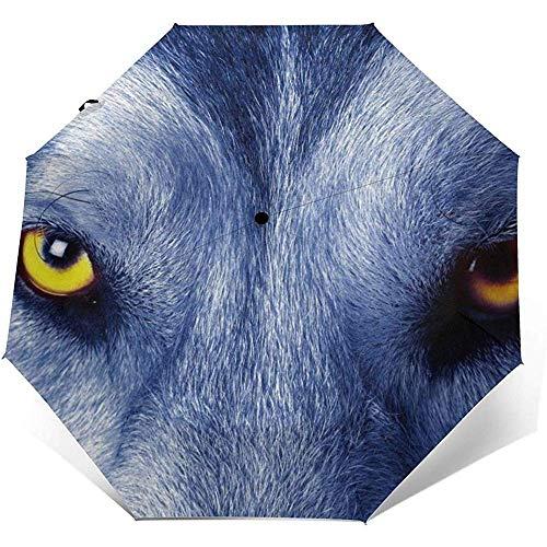 Cooler winddichter Regenschirm mit Wolfsgesicht-Aufdruck - winddichtes, verstärktes Verdeck