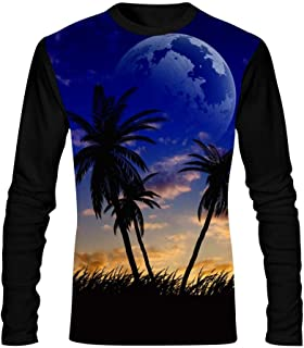 Mens T Shirt,Creative Hawaiian Night Long Sleeves Print Tee Creative Casual