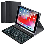 """Funda con Teclado Español para iPad 10.2"""" 8th Gen 2020/7th Gen 2019/ iPad Pro 10.5/iPad Air 3, Carcasa PU Delgada con 7 Colores Retroiluminados Teclado Bluetooth Inalámbrico Desmontable Magnético"""