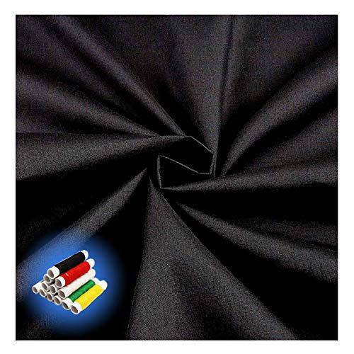 Happylohas Polycotton-Stoffe, bekleidungsstoffe, dekostoffe, Stoffe zum nähen, mit nähgarn, zum Scrapbooking, quilten, nähen, basteln, Kleidung, 145 x 100cm (Schwarz)