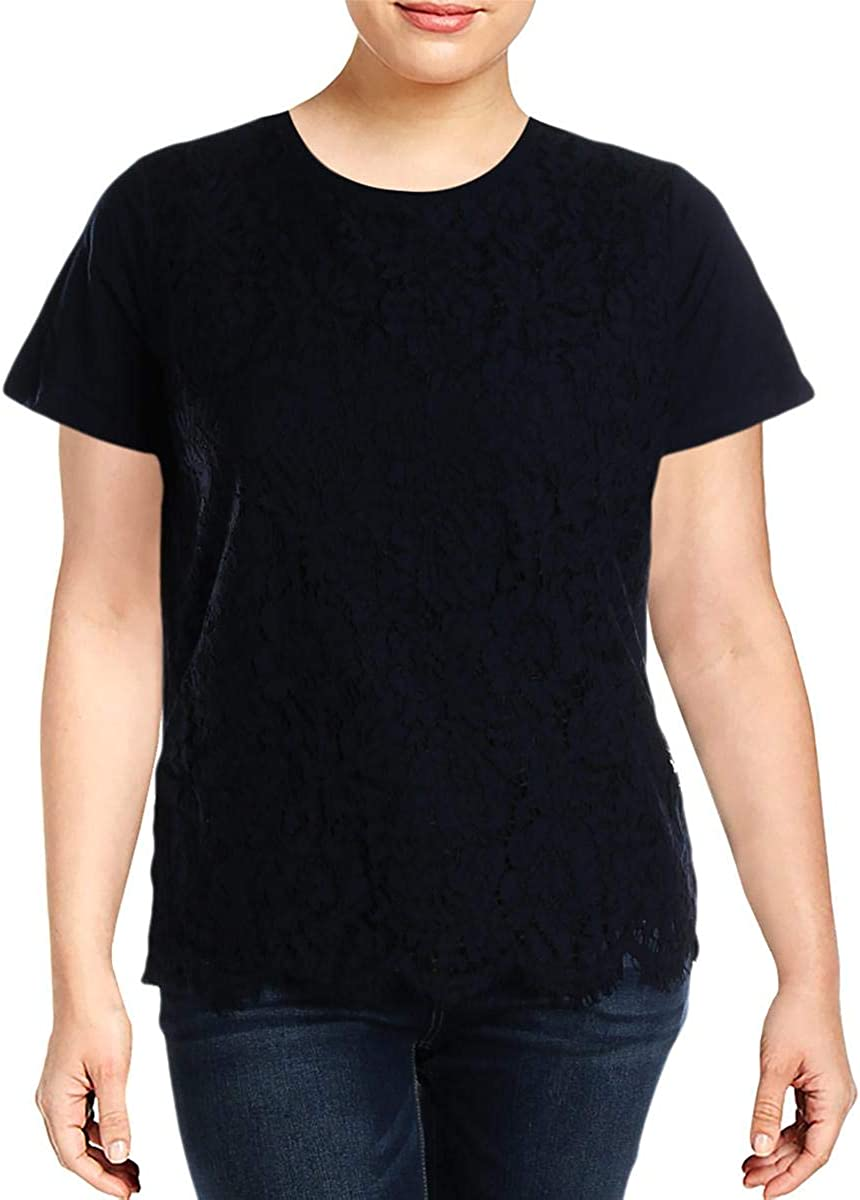 Ralph Lauren Womens Lace Front Basic T-Shirt, Blue, 1X