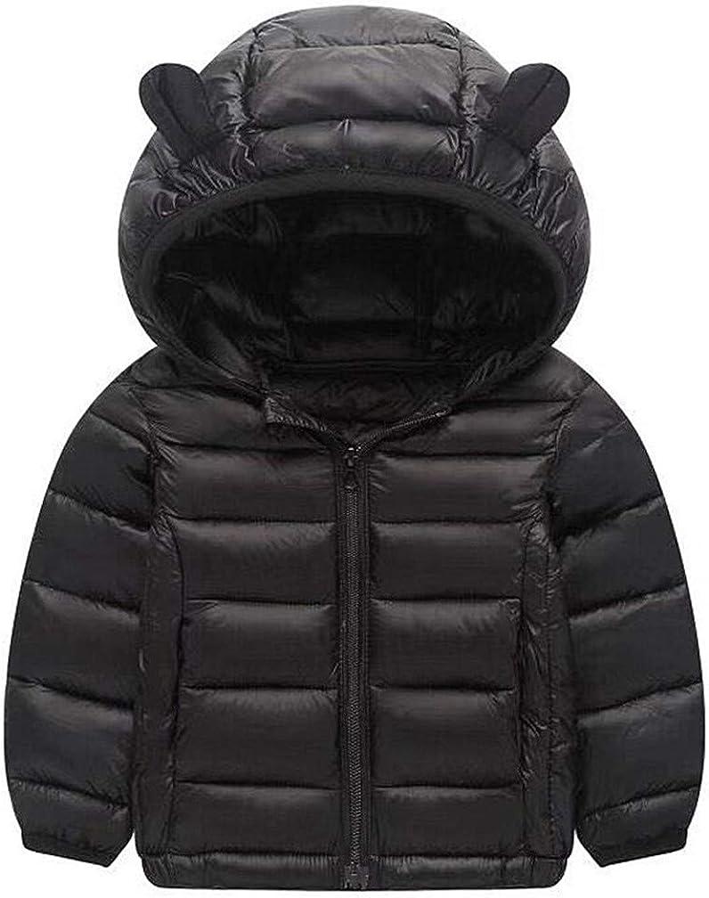 HILEELANG Kids Boy Girl Outwear Coat Winter Warm Hooded Puffer Lightweight Water-Resistant Packable Puffer Jacket Coat