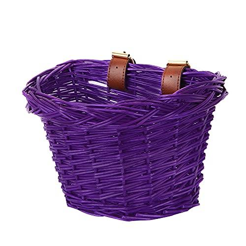 Kinderfahrrad-Lenkerkorb, Fahrradkorb-Aufhängekorb, geeignet für Jungen und Mädchen, Kinderfahrradzubehör, umweltfreundlicher handgefertigter Rattan-Korb,lila