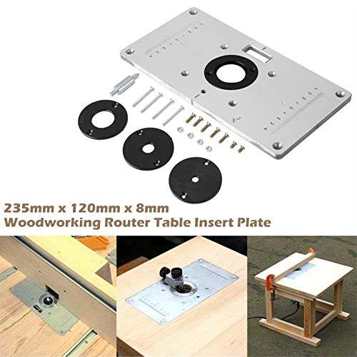 lembrd aluminium router tafelblad met 4 ringen en schroeven voor houtbewerkingstafels voor rebajadoras gebruik router tafel banken hout draaibank, 235 mm x 120 mm x 8 mm