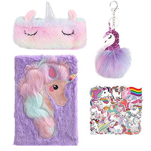 Set de diario de unicornio, lindo cuaderno de tapa dura de unicornio, cuaderno escolar de diario de unicornio, regalo de unicornio para niñas (púrpura 21,5 cm * 14,8 cm)