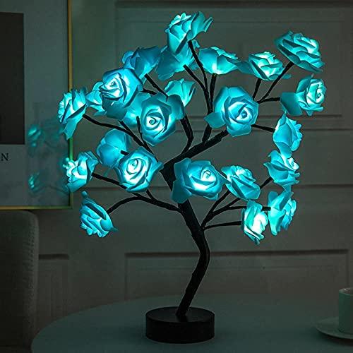 Lámpara de mesa LED, árbol de flores de rosa, luces de noche USB, regalo para habitación de niños, iluminación de flores de rosa, hogar, boda, fiesta, decoración de escritorio-06