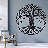Mandala Círculo Árboles Tatuajes de pared Decoración para el hogar Fitness Yoga Árbol Etiqueta de la pared Árbol de la vida Estudio de yoga Murales de pared A8 57x57cm