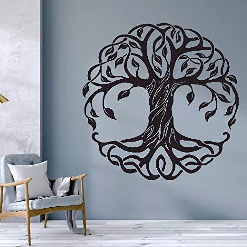 Mandala Círculo Árboles Tatuajes de pared Decoración para el hogar Fitness Yoga Árbol Etiqueta de la pared Árbol de la vida Estudio de yoga Murales de pared A7 42x42cm